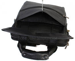 Чоловіча шкіряна сумка чорний (Формат: більше А4) Savio Savio-5010-2, фото 3