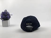Кепка бейсболка Polo Ralph Lauren  темно-синяя, белый лого зимняя, фото 2
