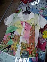 Рубашка детская короткий рукав для девочки  р.122 - 146