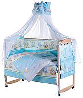 Детская постель Qvatro Lux  RL-08  голубая (мышки с сыром,слон,кот,собачки), фото 1