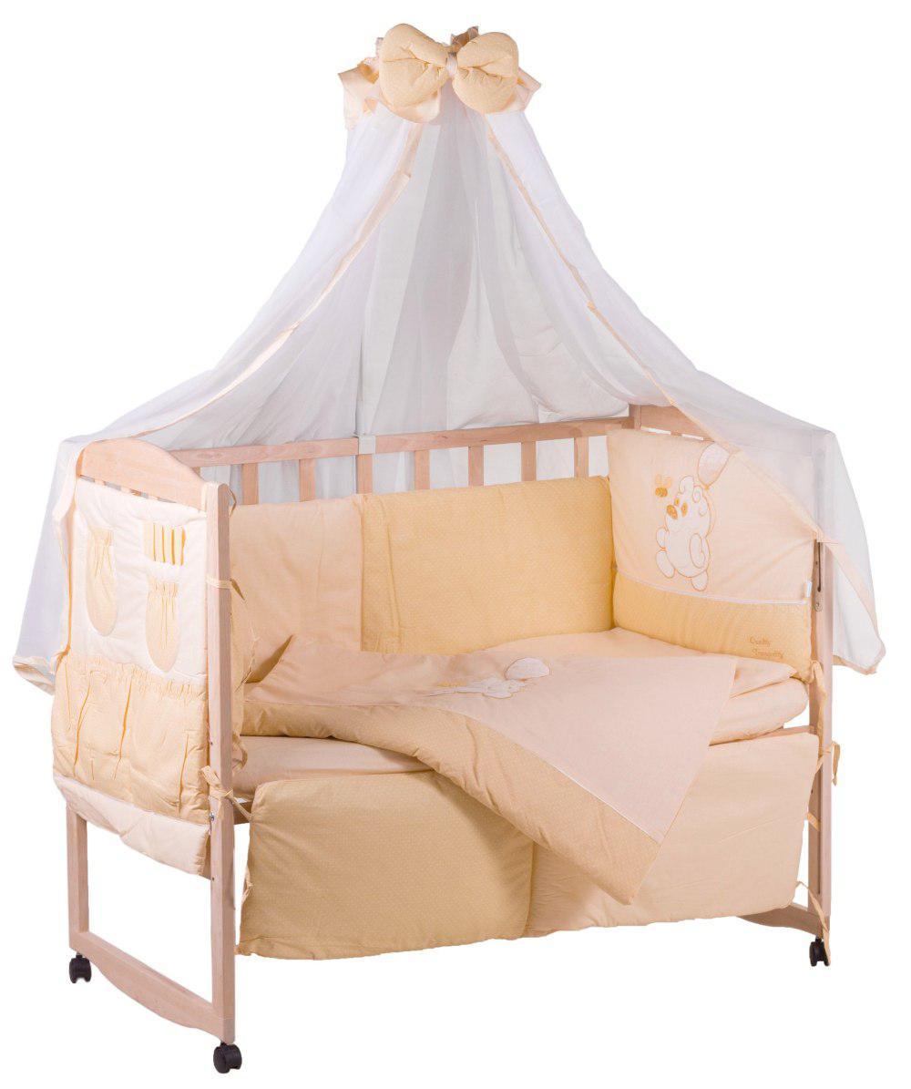 Детская постель Qvatro с аппликацией (8 элем.,со змейками на защите).  бежевый (винни с пчелкой)