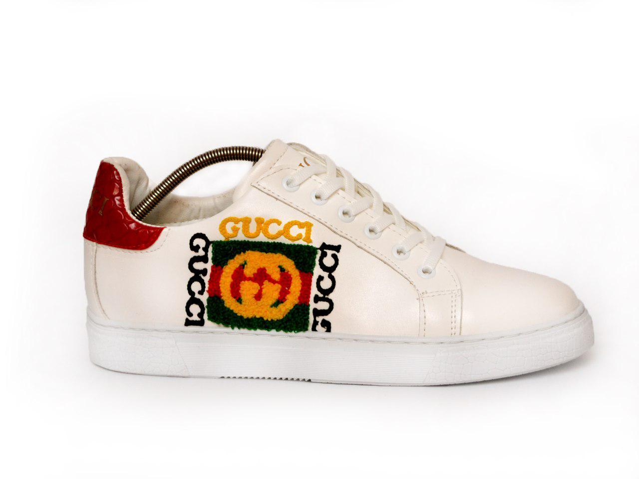 Мужские кеды Gucci (белые), ТОП-реплика
