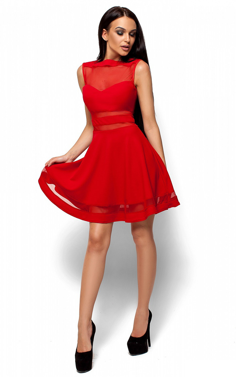 (S, M, L) Коктейльне червоне плаття з сіточкою Martin