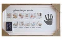 Фоторамка детская с штемпельной подушкой, на 12 фото  39*22,5см + отделение для отпечатков