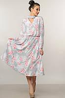 Платье летнее Бохо-Миди серый Ри Мари р.42-52