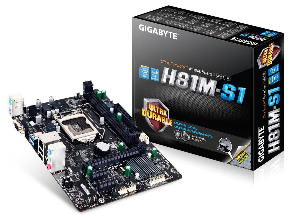 "Материнская плата GIGABYTE GA-H81M-S1 s.1150 DDR3 ""Over-Stock"" Б/У"