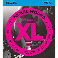 Струны для бас-гитары D'Addario EXL170 Nickel Wound Bass Guitar Strings, Light, 45-100