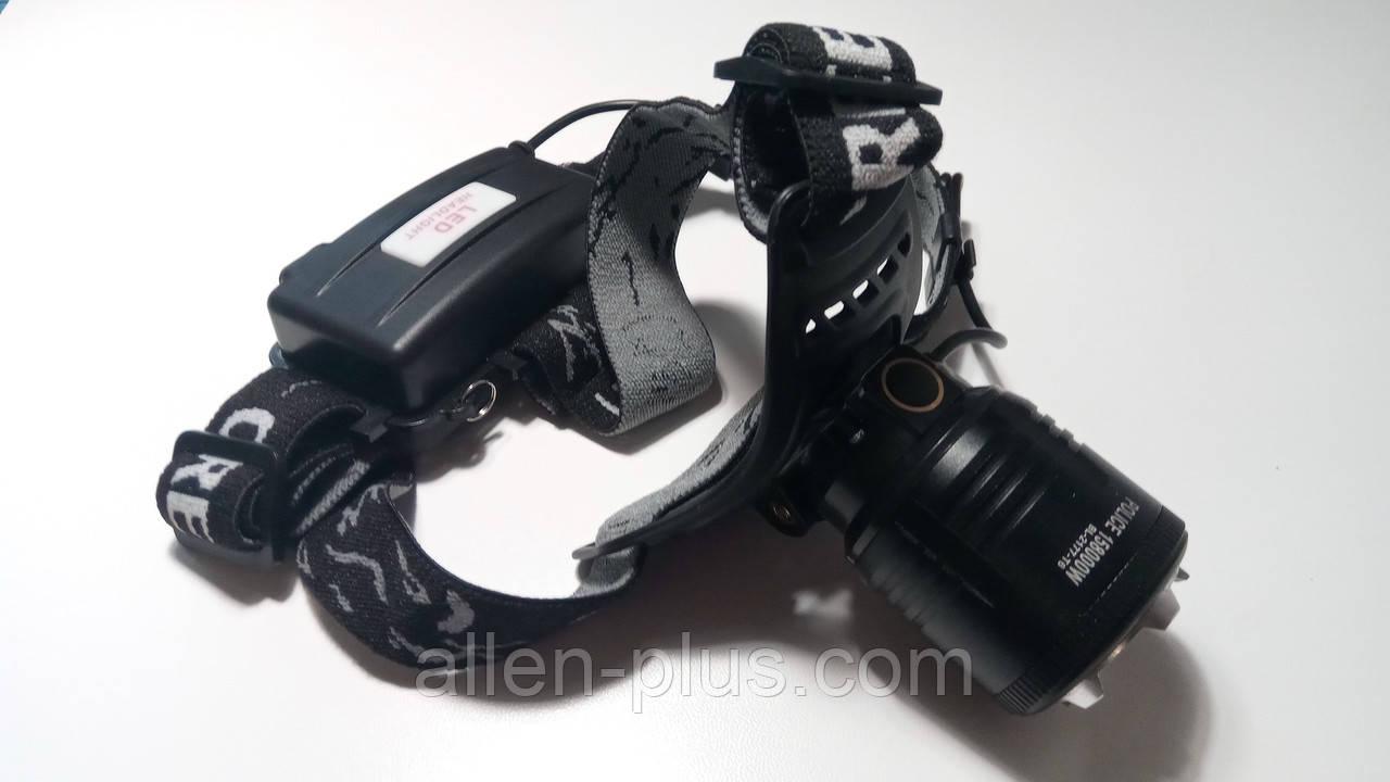 Фонарь аккумуляторный налобный BL-2177-T6, XM-L, T6 (zoom, 2х18650, 3 режима)