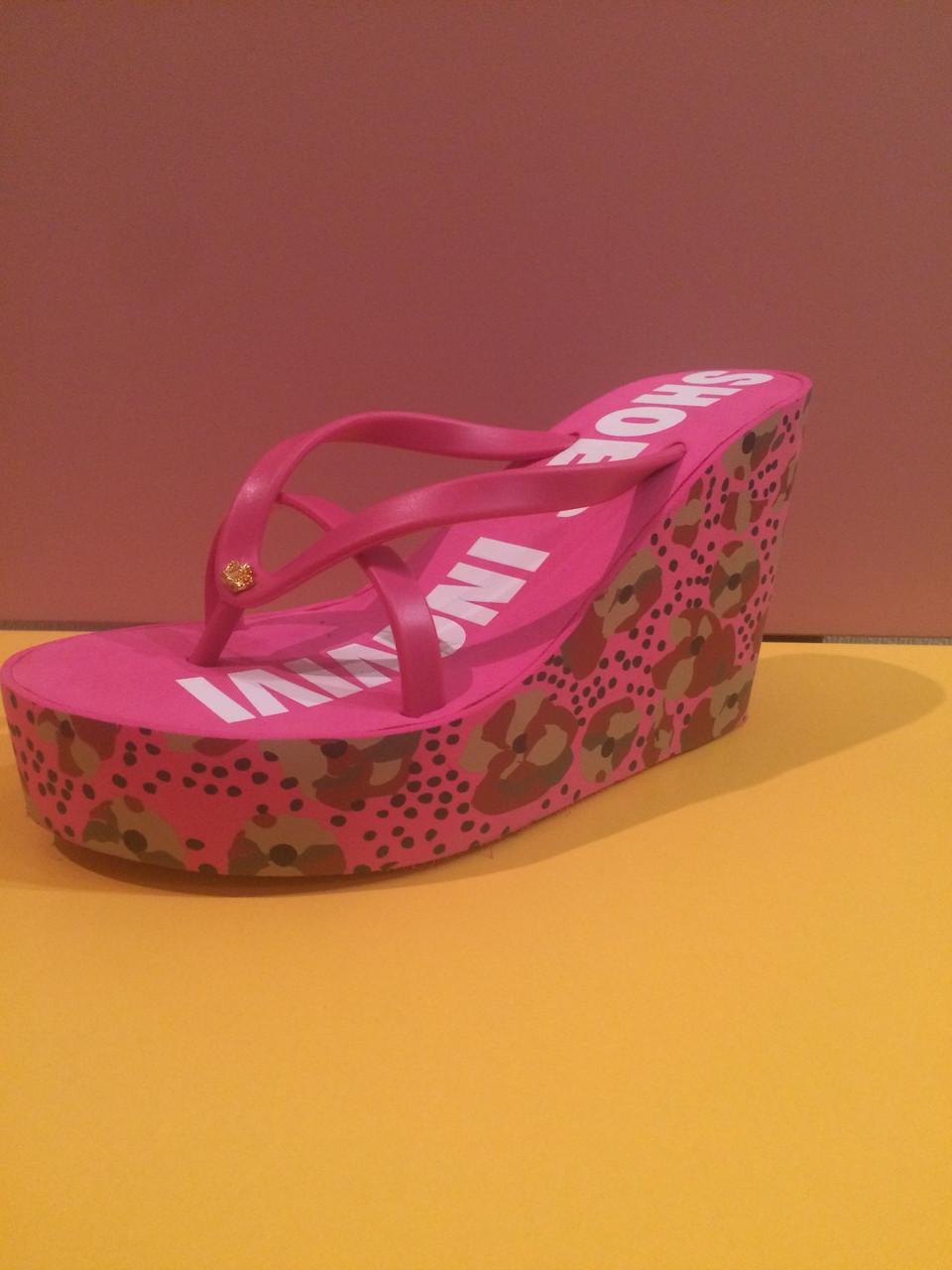 Малиновые шлепанцы Juicy Couture (Джуси Кутюр) с цветами , копия