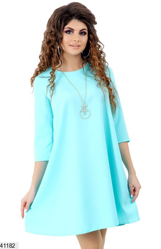 Летнее платье короткое свободное рукав три четверти мятное
