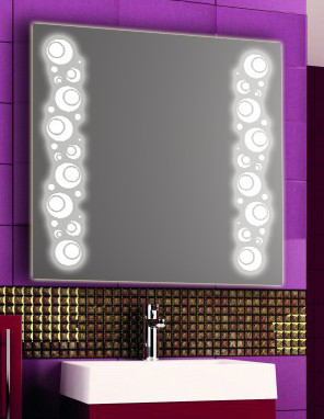 Зеркало с LED подсветкой настенное d75 800х800 мм Лед