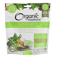Organic Traditions, Матча-латте с пробиотиками и ванилью, 5,3 унции (150 г)