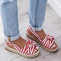 Босоножки сандали эспадрильи  в полоску красные, фото 1