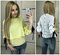 Нарядная шифоновая блуза спина пуговицы 16274, фото 1