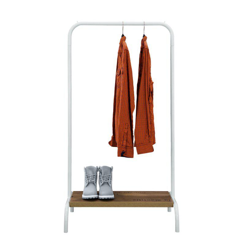 Стойка для одежды Лофт 2А белая (металл/дерево)