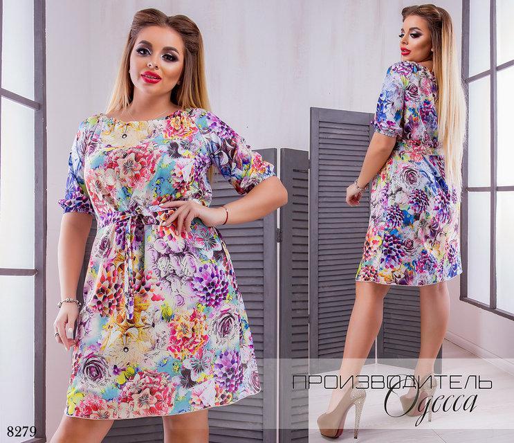 402801ed49b Платье летнее принт цветочный софт 50-52