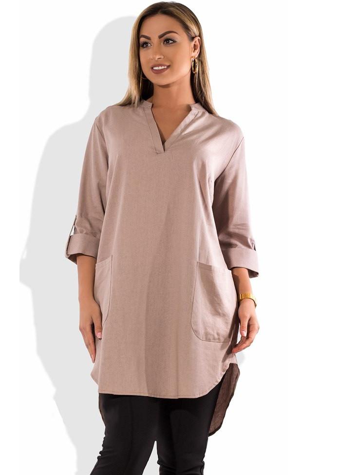 Женское бежевое платье туника из льна размеры от XL ПБ-503