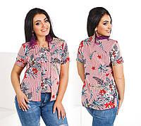 """Блузка великих розмірів """"Квіти"""" Dress Code, фото 1"""
