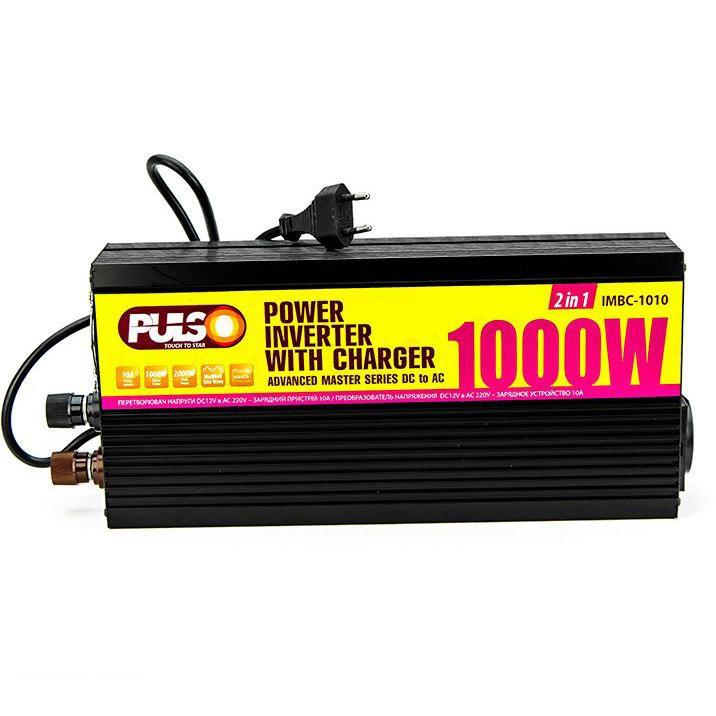 Преобраз. напряжения /зарядн. уст-во PULSO IMBC-1010/ 12V-220V/ 1000W/ 10A/ мод.волна/ клеммы