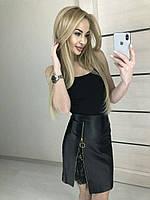 Юбка Экокожа с кружевом 16275, фото 1