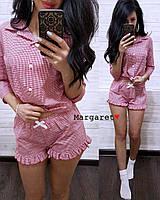 Женская красивая пижама в клеточку (3 цвета)