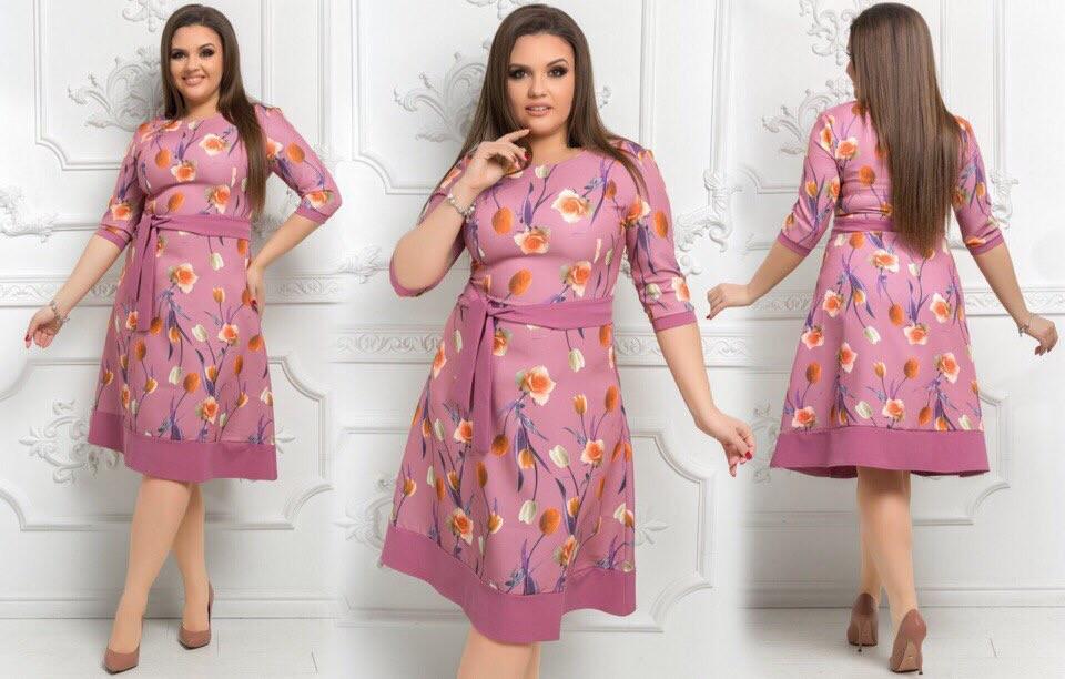 Стильное женское платье ткань *Костюмная* цветочный принт 50 размер батал