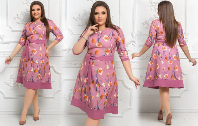 Стильное женское платье ткань *Костюмная* цветочный принт 50 размер батал, фото 2