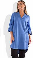 Женское голубое платье туника из льна размеры от XL ПБ-504