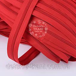 Блискавка рулонна червоного кольору, Т3 (метражем)