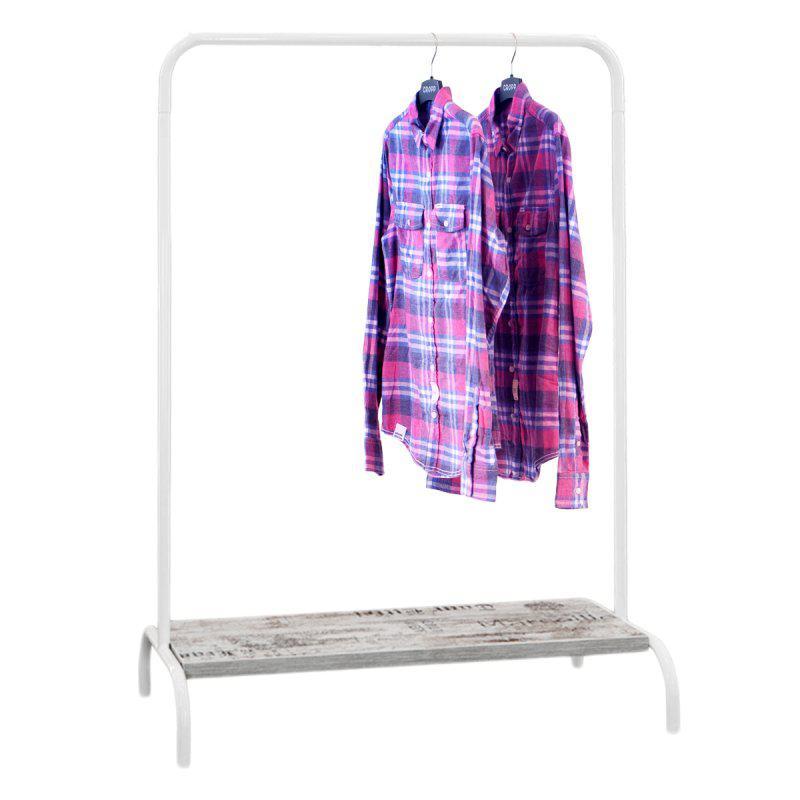 Стойка для одежды Лофт 2Б белая (металл/дерево)