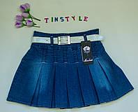 Джинсовая юбка в складку для девочки 8-9 лет