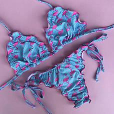 Купальник раздельный бикини мягкая чашка, плавки бразилиана фламинго-139-12, фото 2