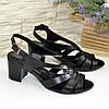 Женские кожаные босоножки на устойчивом каблуке, цвет черный, фото 4