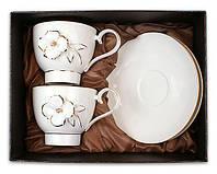 Чайный набор: 2 фарфоровые чашки 200мл с блюдцами объемный цветок