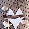 Купальник раздельный бикини мягкая чашка , плавки бразилиана белый-139-06