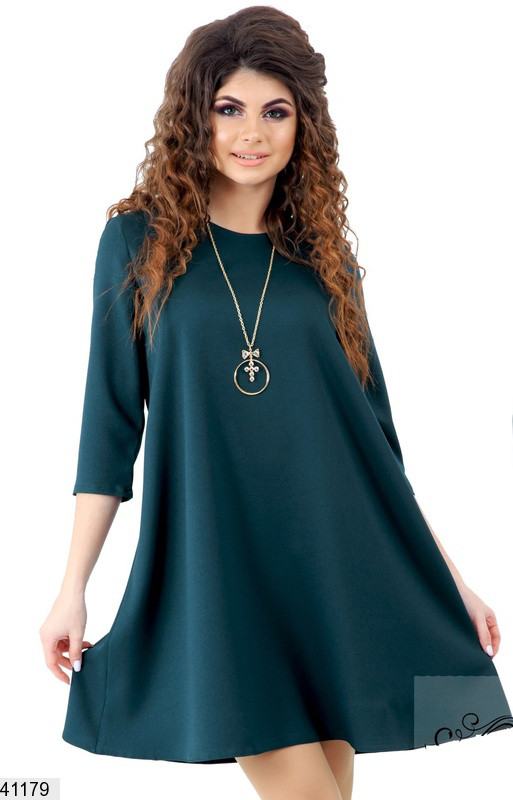 Модное платье мини свободного кроя рукав до локтя креп вискоза бутылка
