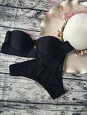 Купальник раздельный бикини уплотнённая чашка на косточках, плавки бразилиана чёрный-139-05, фото 3