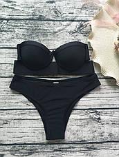 Купальник раздельный бикини уплотнённая чашка на косточках, плавки бразилиана чёрный-139-05, фото 2