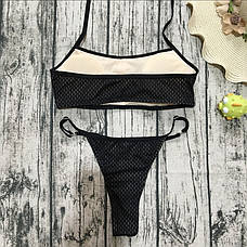Купальник раздельный бикини мягкая чашка с вкладышем плавки стринги черный сеточка-139-09, фото 3