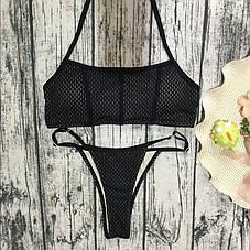 Купальник раздельный бикини мягкая чашка с вкладышем плавки стринги черный сеточка-139-09, фото 2