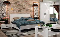 Спальня МДФ Рома Миромарк глянец белый(комплект шкаф 4Д,кровать 160*200см.,2 тумбы,комод+зерк.