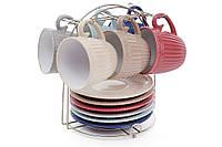 """Чайный набор """"Simple 3"""",6 чашек с блюдцами на металлической подставке"""