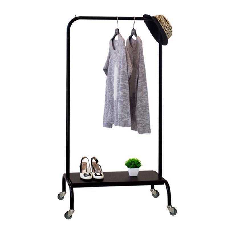 Стойка для одежды на колесиках Лофт 2А пром черная (металл/дерево)
