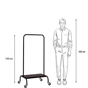 Стойка для одежды на колесиках Лофт 2А пром черная (металл/дерево), фото 2