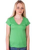 Женская зеленая футболка летняя с коротким рукавом однотонная хлопок с кружевом трикотажная (Украина)