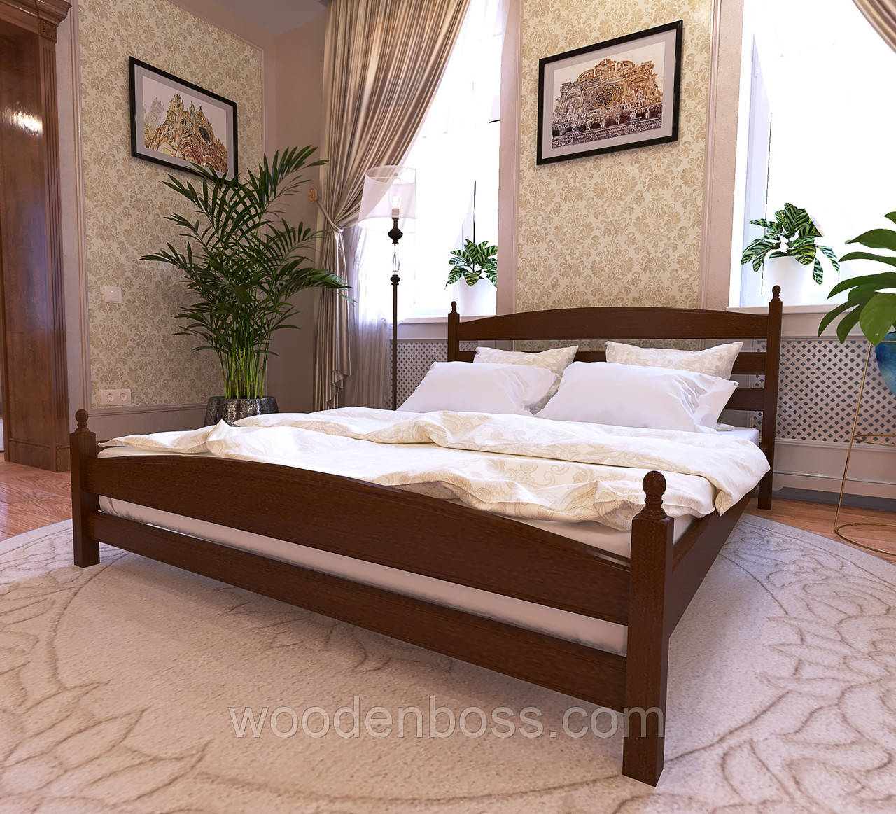 """Кровать двуспальная от """"Wooden Boss"""" Классик Люкс(спальное место 160х190/200"""