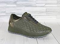 Летние кроссовки хаки. Натуральная кожа 1899, фото 1