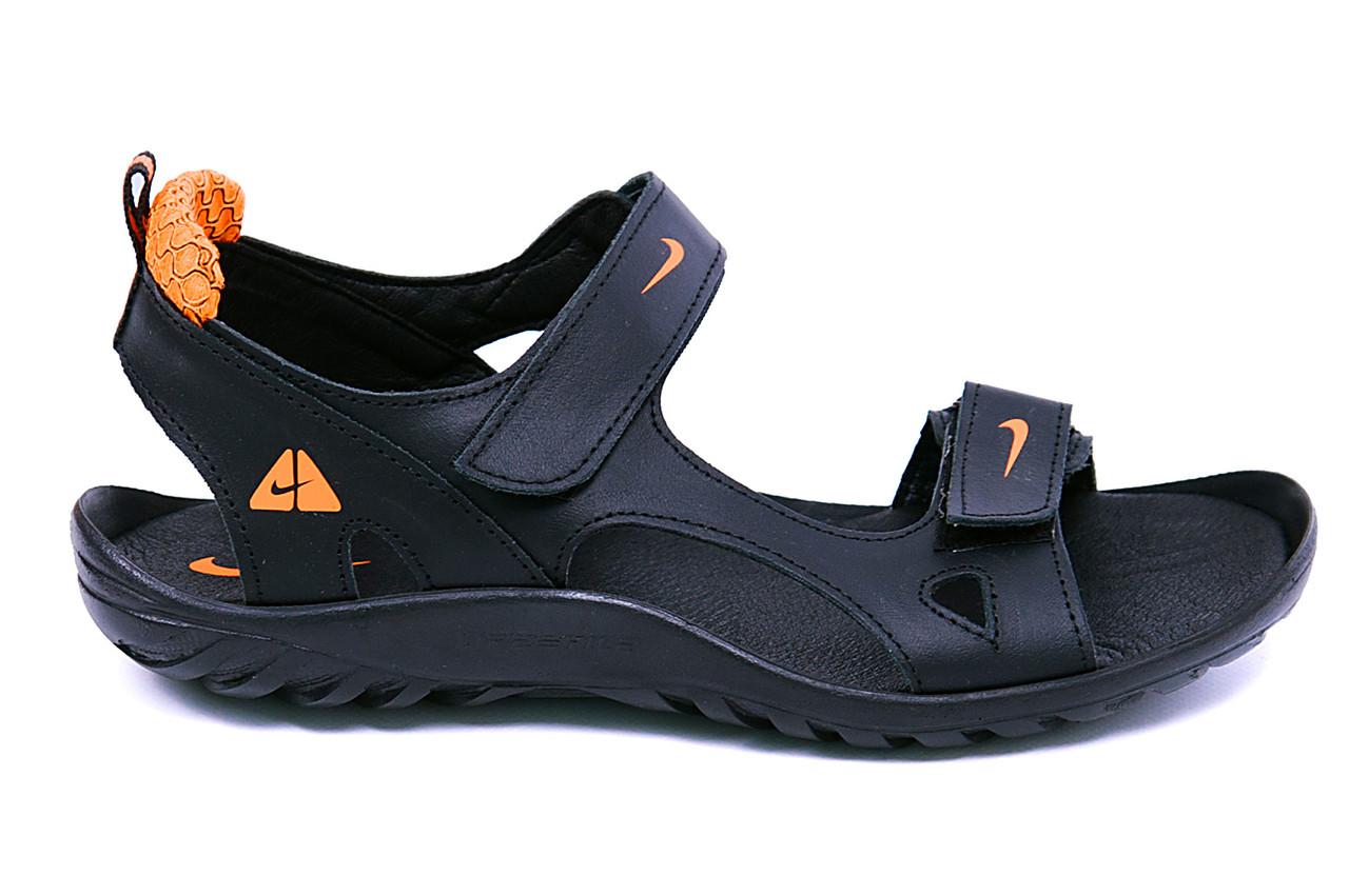 Мужские кожаные сандалии Nike NS orange (реплика), фото 1
