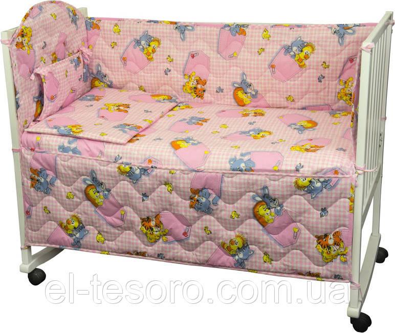 Спальний Комплект «Звірята В Кишенях» (4 Предмета) Рожевий