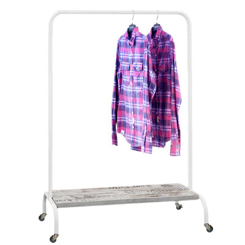Стойка для одежды на колесиках Лофт 2Б пром белая (металл/дерево)